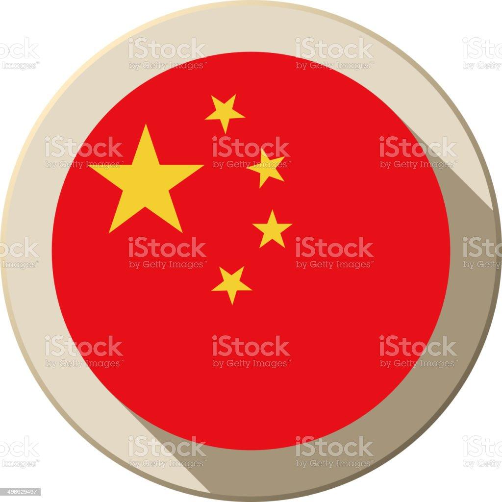 China Flag Button Icon Modern vector art illustration