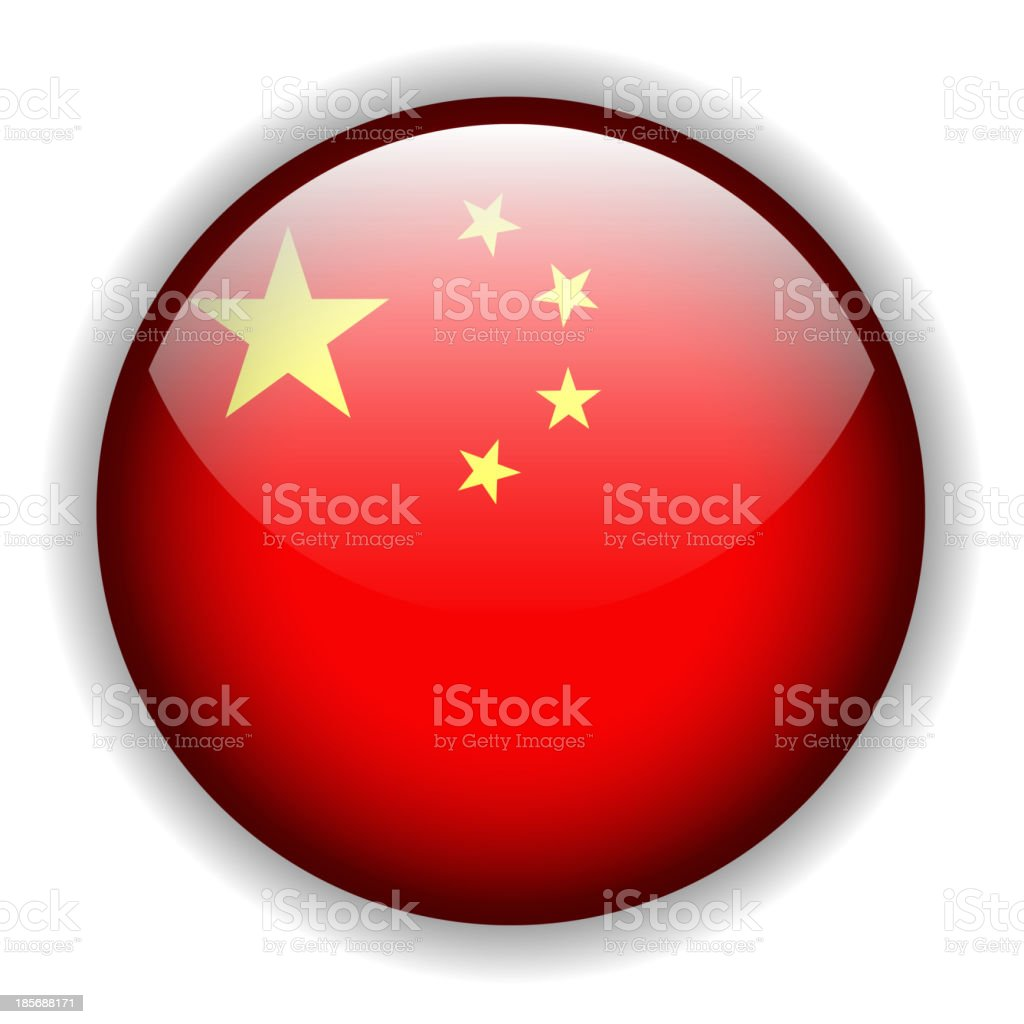 China flag button, vector royalty-free stock vector art