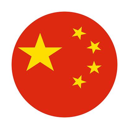 China flag icon vector illustration - Round flat icon stock illustration