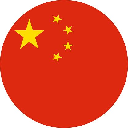 China flag icon vector illustration - Round flat icon