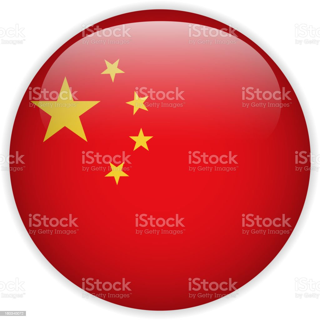 China flag in button sphere shape vector art illustration