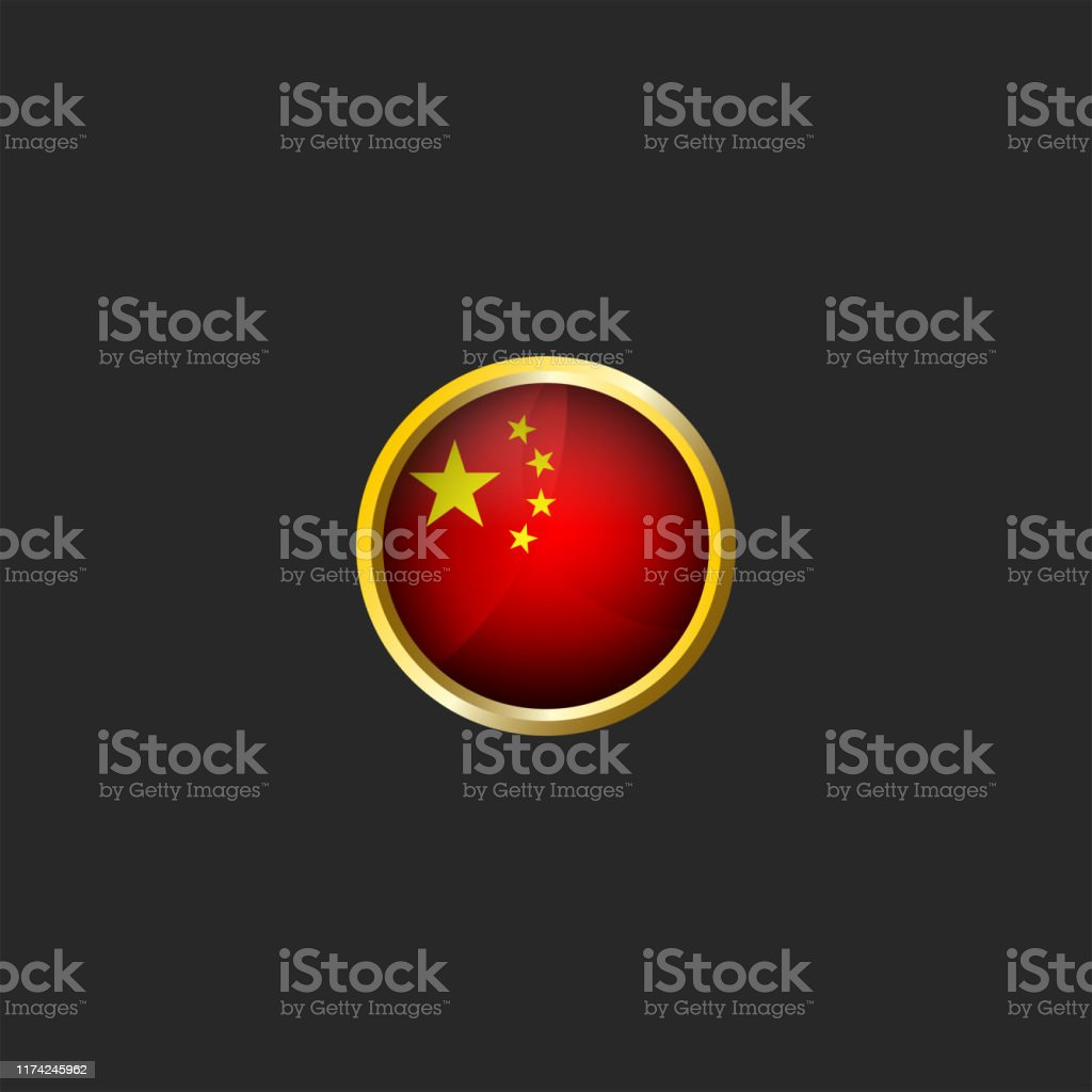China Flag Logo Round 3d Prc Icon Glossy Glass Material And Golden Metal Frame Chinese National Colors Design Element Mockup Stock Illustration Download Image Now Istock
