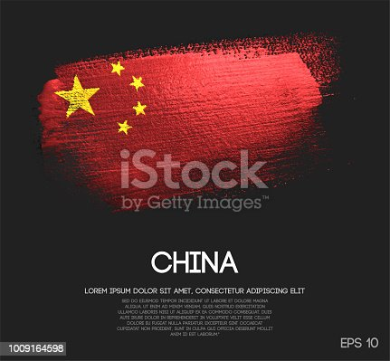 istock China Flag Made of Glitter Sparkle Brush Paint Vector 1009164598