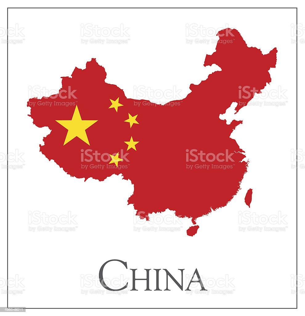 China flag map vector art illustration