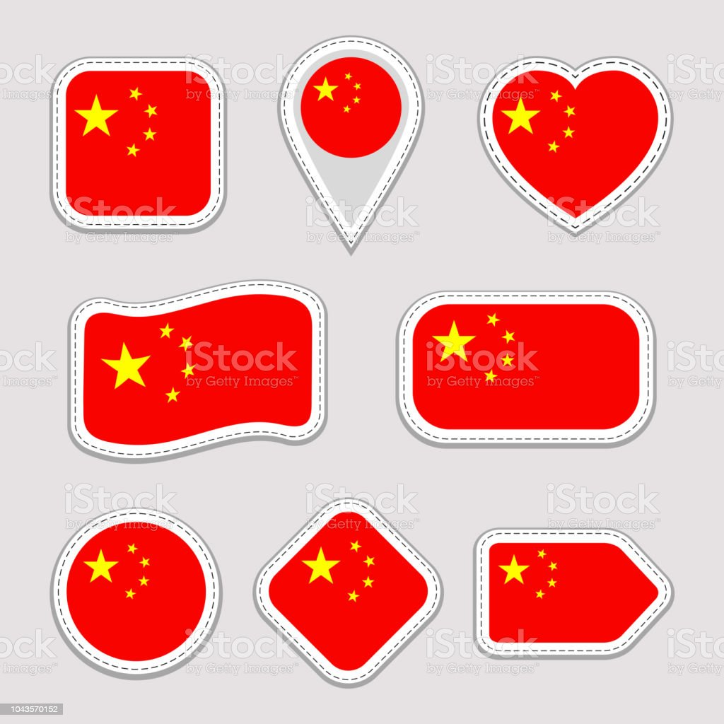China Flag Vector Set Chinese Flags Stickers Collection Isolated