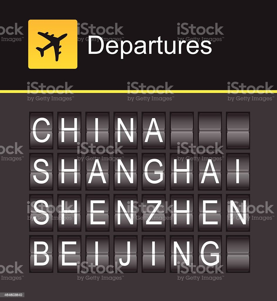 China flip alphabet airport departures, China, Shanghai, Shenzhen, Beijing vector art illustration