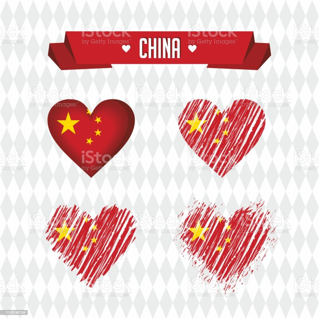 China Heart With Flag Inside Grunge Vector Graphic Symbols Stock