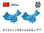 China - High Detailed Map With GPS Icon Collection