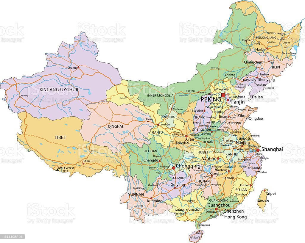 China Highly Detailed Editable Political Map With Labeling Stock