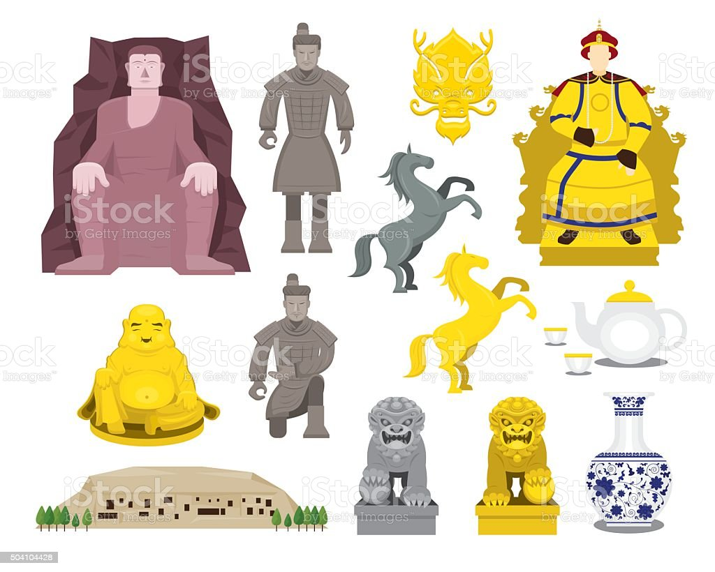 China History Objects Set vector art illustration