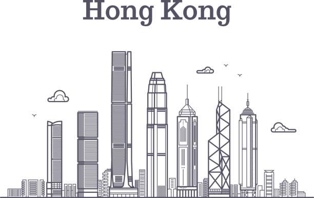 illustrazioni stock, clip art, cartoni animati e icone di tendenza di china hong kong city skyline. architecture landmarks and buildings vector line panorama - hong kong