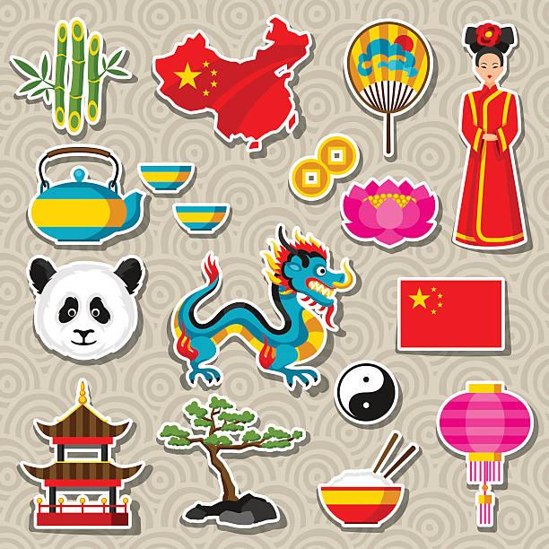 china icons set. chinese sticker symbols and objects - アジア旅行点のイラスト素材/クリップアート素材/マンガ素材/アイコン素材