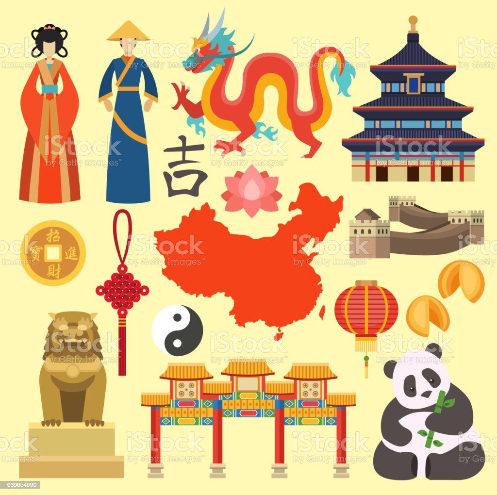 China icons vector. vector art illustration