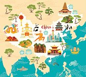 China illustrated map, hand drawn vector illustration for kid and children. Chinese landmarks icons, temple and dragon. Shaolin monk, lanterns, pandas and rice fields