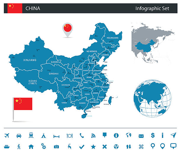 china - infographic map - illustration - china map stock illustrations, clip art, cartoons, & icons