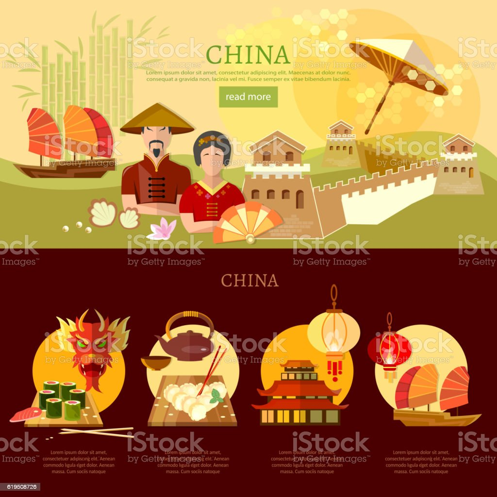 China infographics, chinese traditions and culture vector art illustration