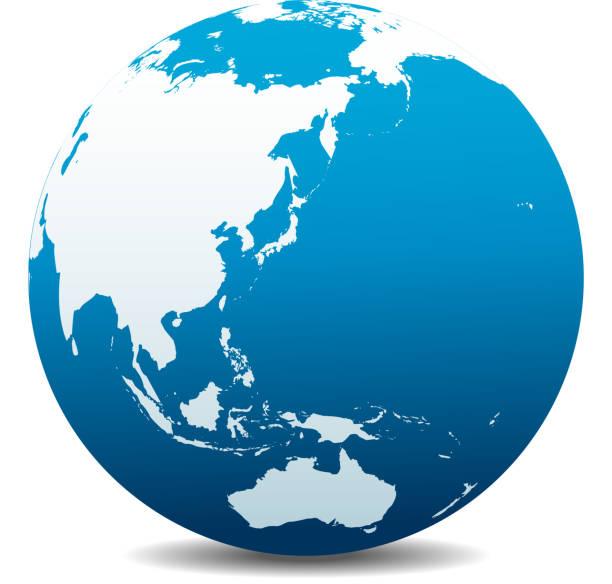 中国、日本、マレーシア、タイ、インドネシア、オーストラリア、グローバル世界 - 地球 日本点のイラスト素材/クリップアート素材/マンガ素材/アイコン素材