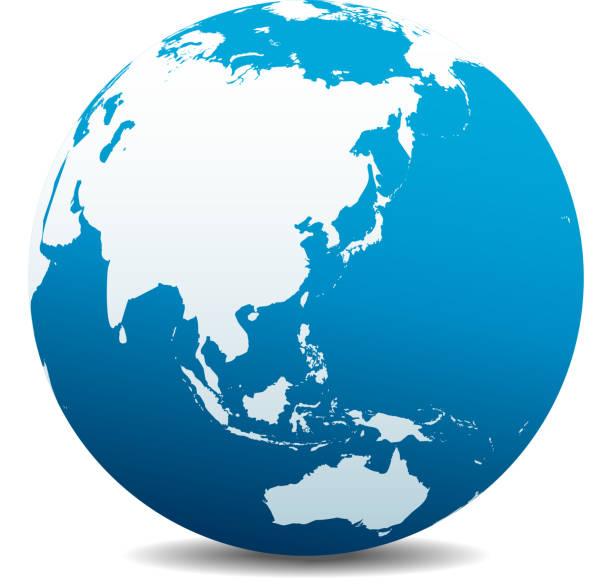 中国、日本、マレーシア、タイ、インドネシア、グローバル世界 - 地球 日本点のイラスト素材/クリップアート素材/マンガ素材/アイコン素材