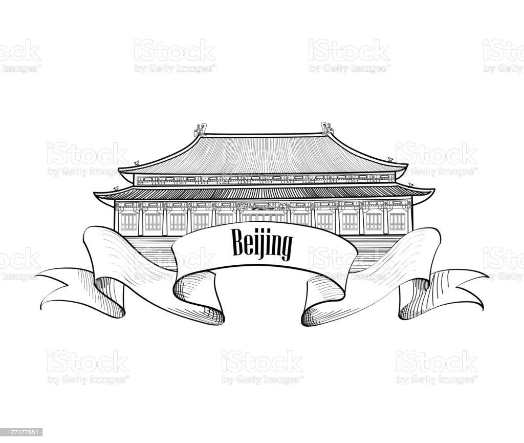 China label. Beijing city landmark. vector art illustration