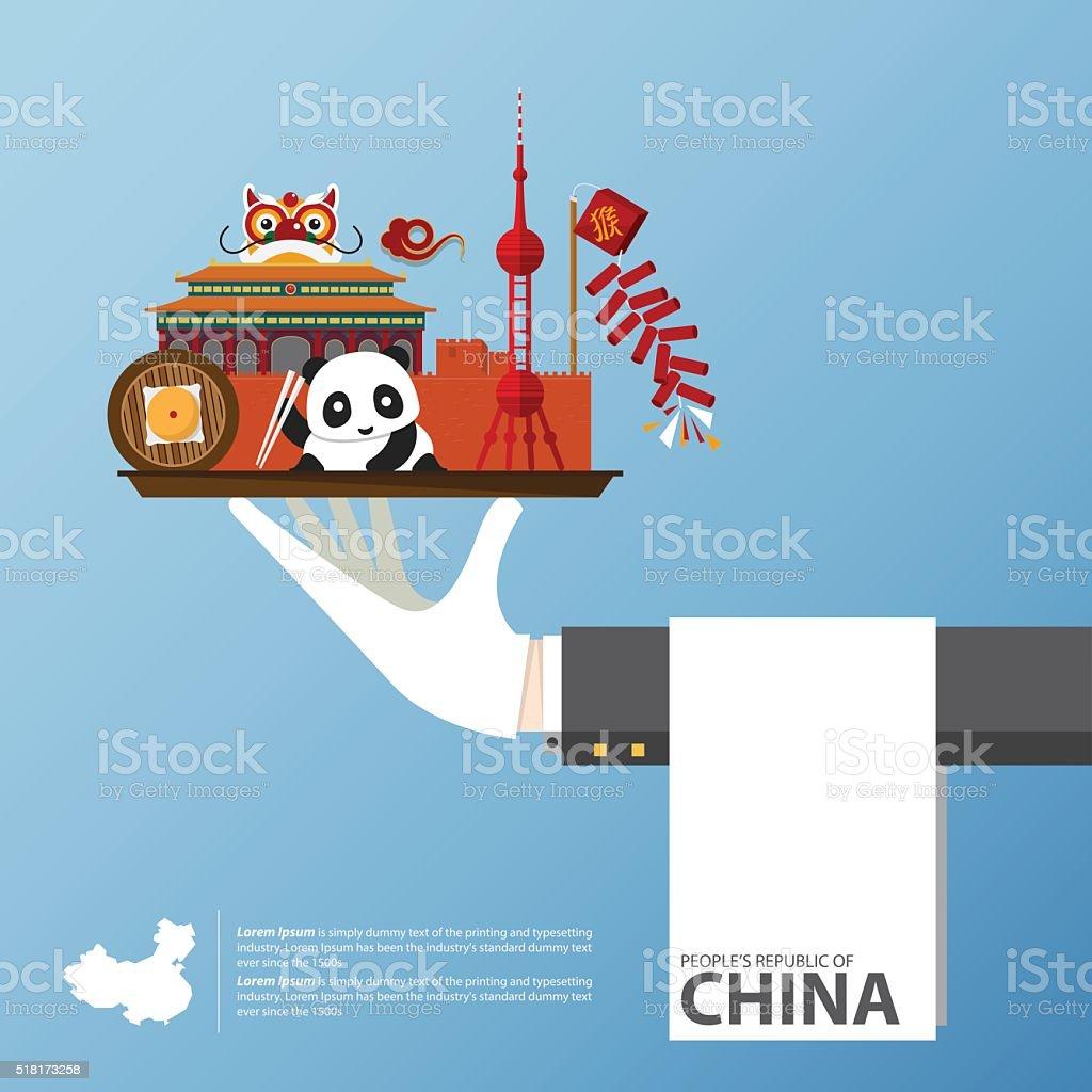 Monumento China infografía global de viajes en diseño plano. Vector de de - ilustración de arte vectorial