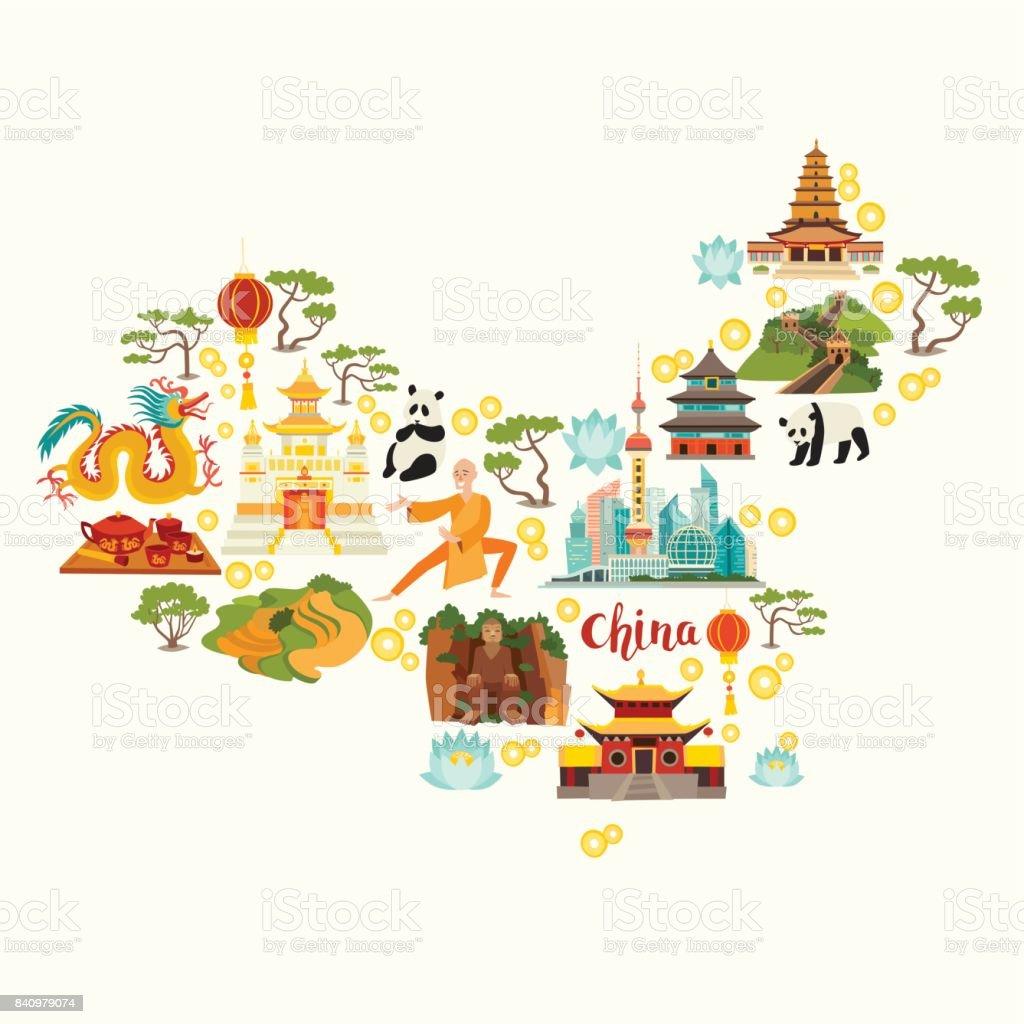 china sehenswürdigkeiten karte China Sehenswürdigkeiten Karte Silhouette Hand Gezeich