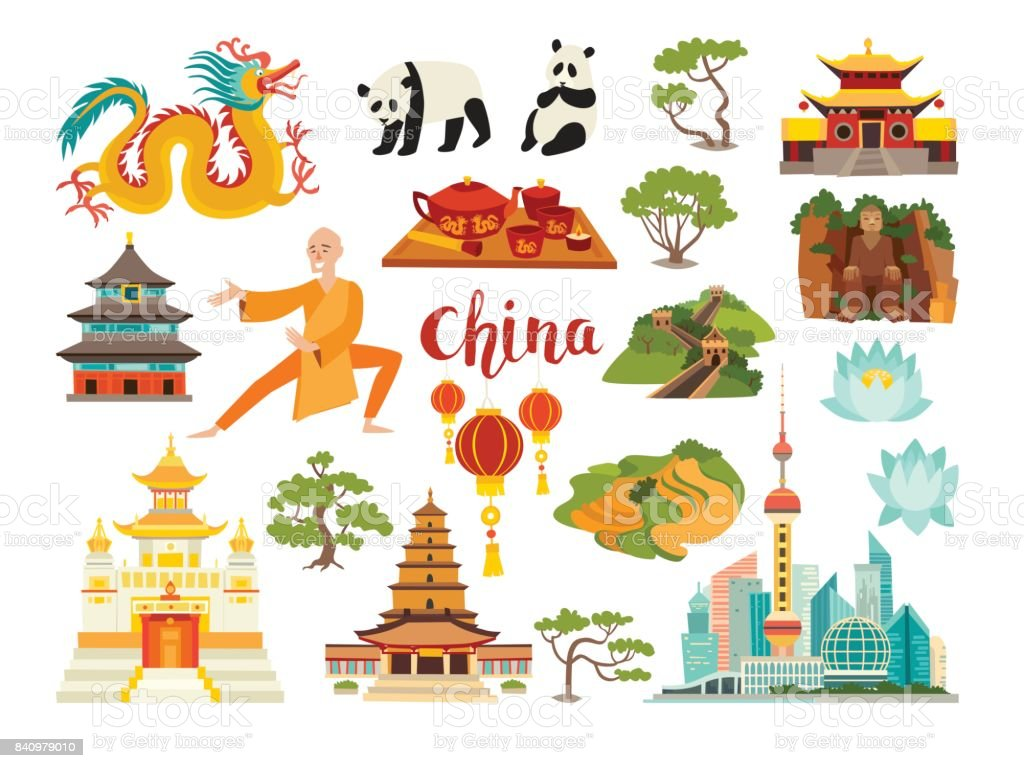 China landmarks vector icons collection vector art illustration