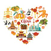 China landmarks vector icons illustration. Illustrated travel collection. Chinese travel attraction, isolated on white background. Heart silhouette, travel design. Flat cartoon style