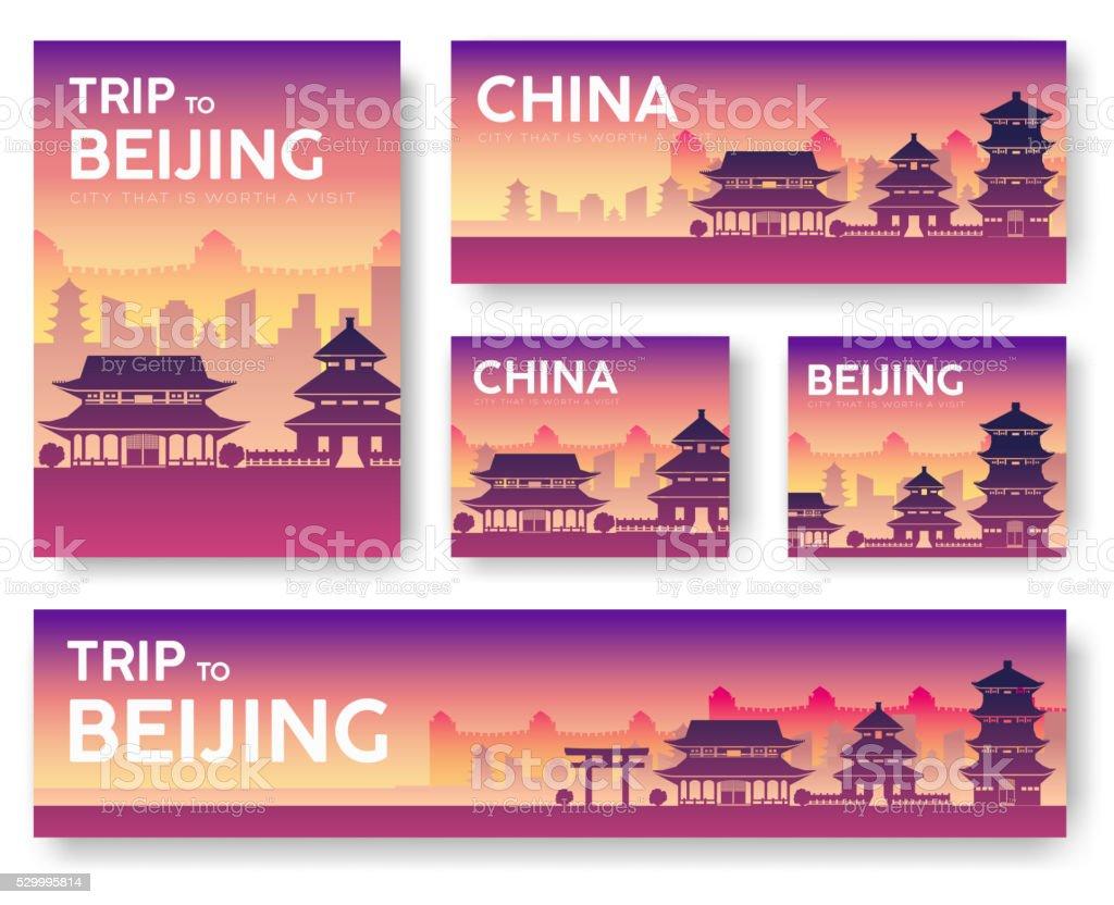China landscape vector banner set vector art illustration