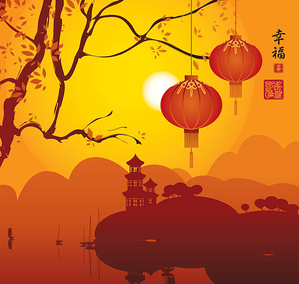 China lantern landscape with Pagoda on mountains, tree branch and Chinese lanterns. Hieroglyphs Happiness land feature stock illustrations