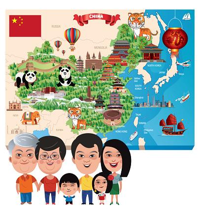 China Map and China Family