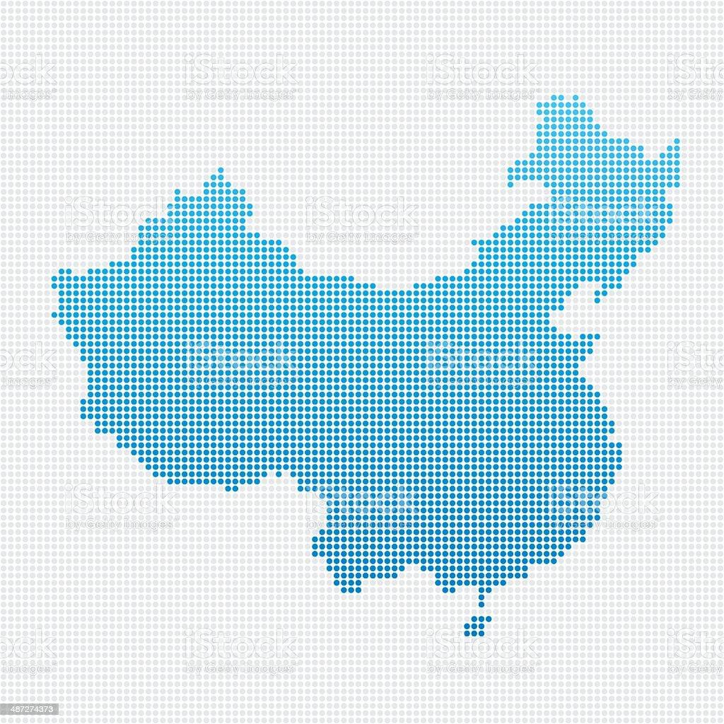 China Map Blue Dot Pattern vector art illustration