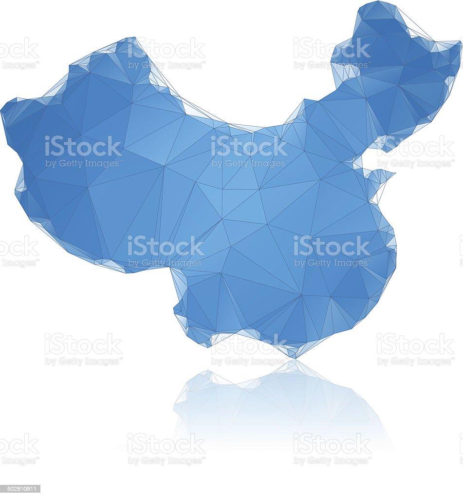 China map blue polygons vector art illustration