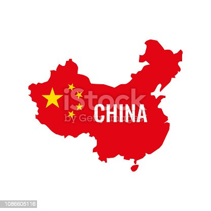 China map. China flag. Vector illustration.