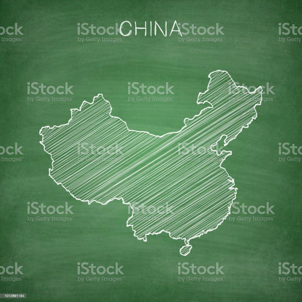 China Map Drawn On Chalkboard Blackboard Stock Vector Art More