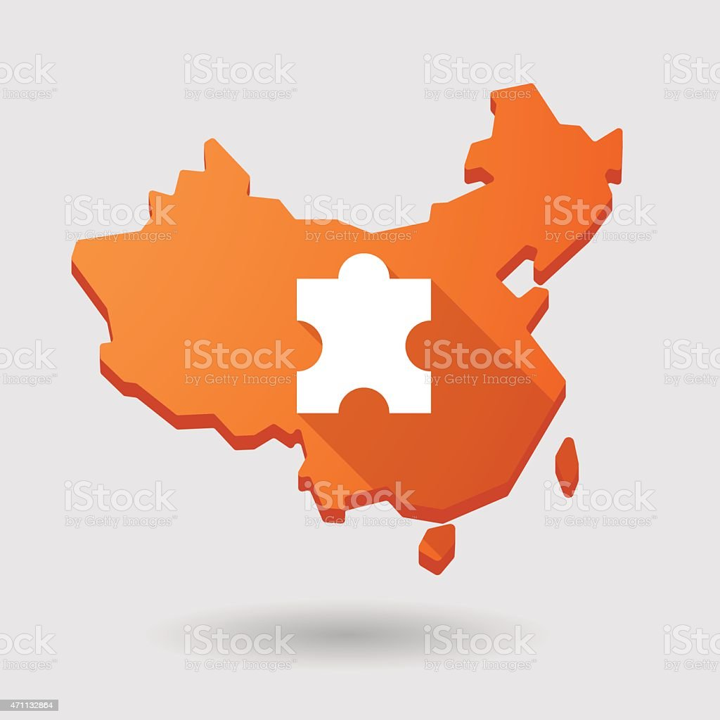 China Map Puzzle.China Map Icon With A Puzzle Stock Vector Art More Images Of 2015