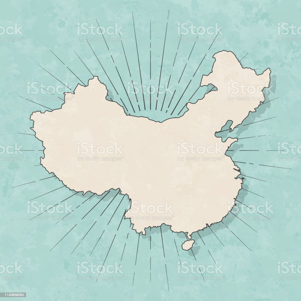 Map of China in a trendy vintage style. Beautiful retro illustration...