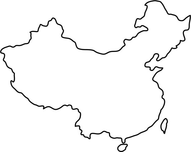 China map of black contour curves of vector illustration China map of black contour curves of vector illustration china stock illustrations