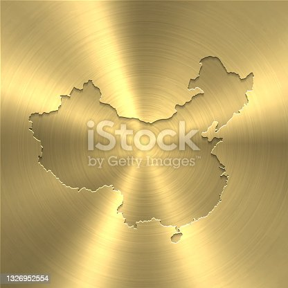 istock China map on gold background - Circular brushed metal texture 1326952554