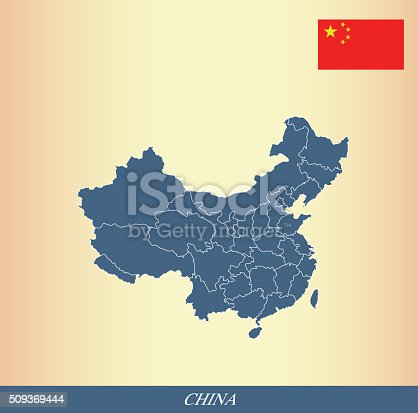 China Map Outline Vector And China Flag Vector Outline Stock Vector