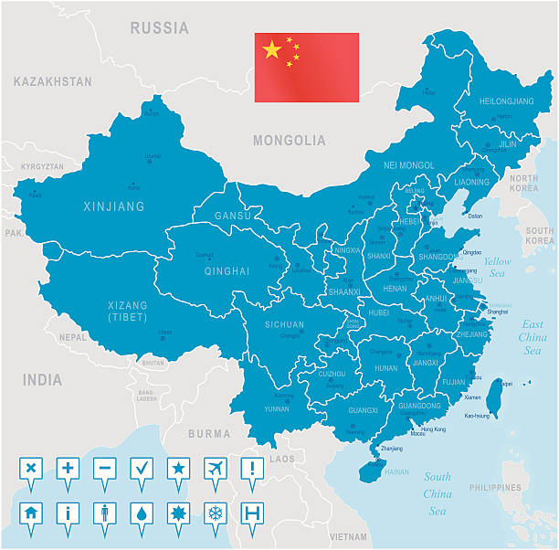 china map - regions, cities and navigation icons - china map stock illustrations, clip art, cartoons, & icons