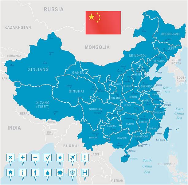中国マップ-地域、都市およびナビゲーションアイコン - アジア点のイラスト素材/クリップアート素材/マンガ素材/アイコン素材