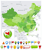 China Map Spot Green Colors and glossy icons