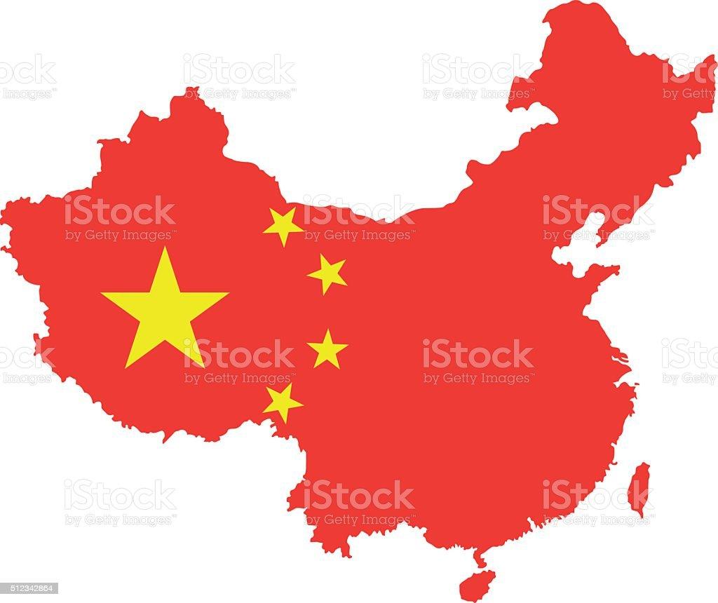 Mapa de China - ilustración de arte vectorial