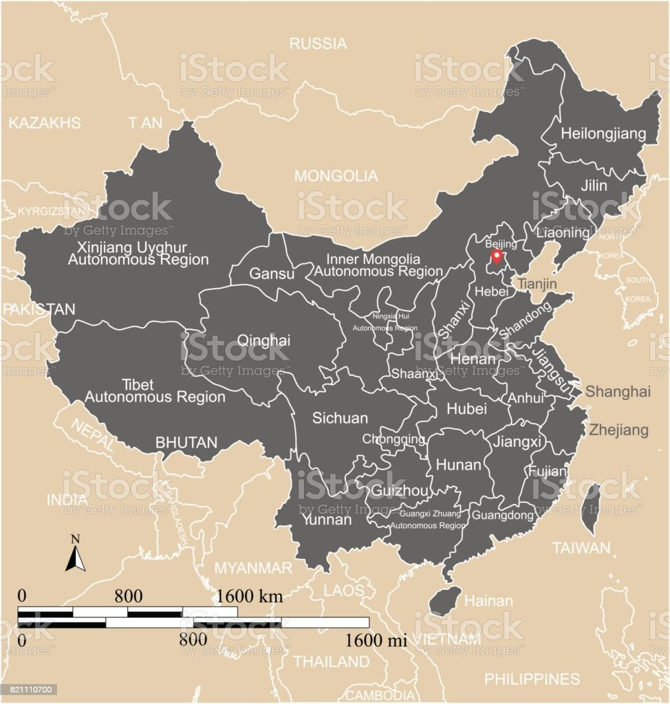 Countries Bordering China Map.China Map Vector Outline With Scales States Or Provinces Neighbor
