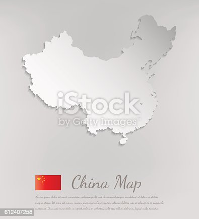 China map white card paper 3D. Vector illustration