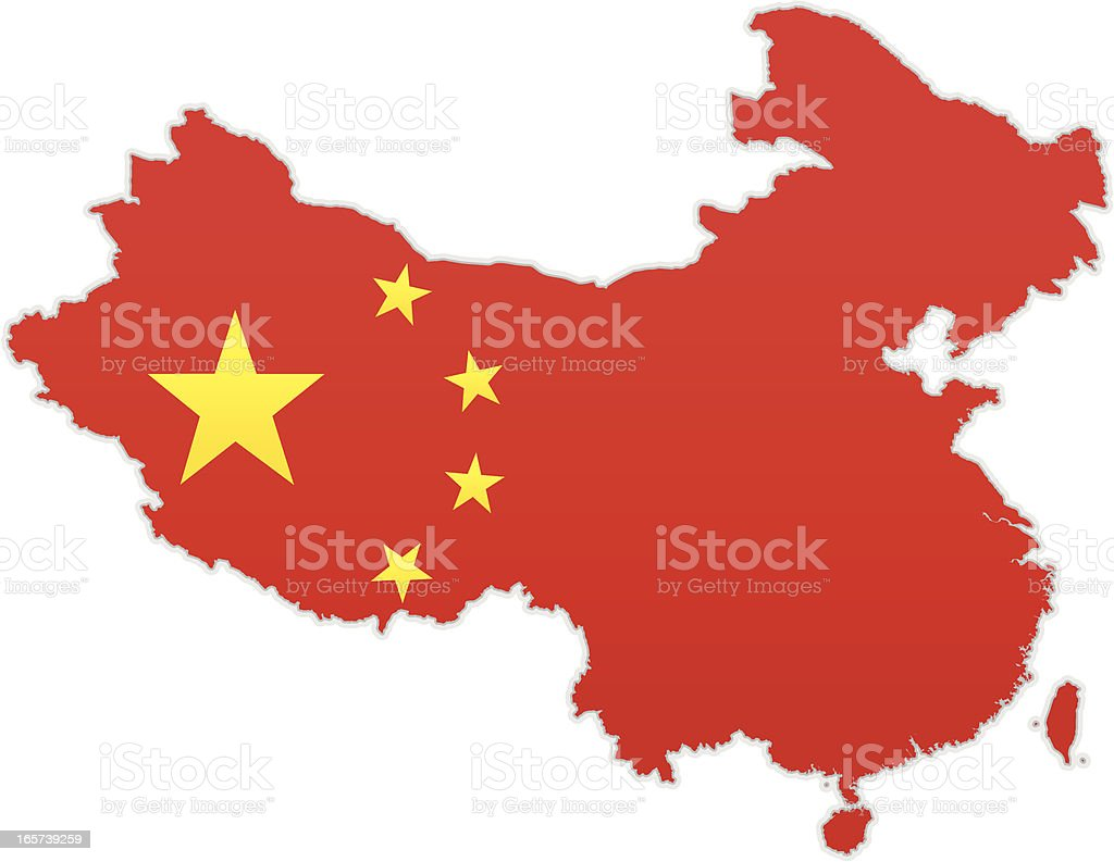 China map with flag royalty-free china map with flag stock vector art & more images of asia