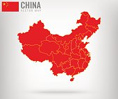 China Map with golden borders. Vector