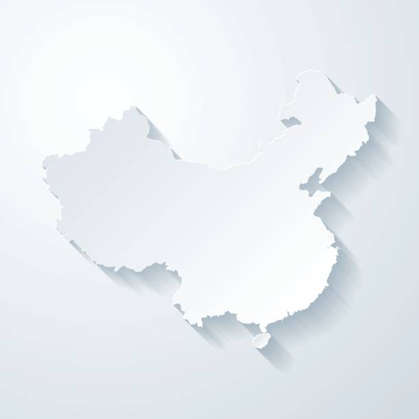 china map with paper cut effect on blank background - china map stock illustrations, clip art, cartoons, & icons