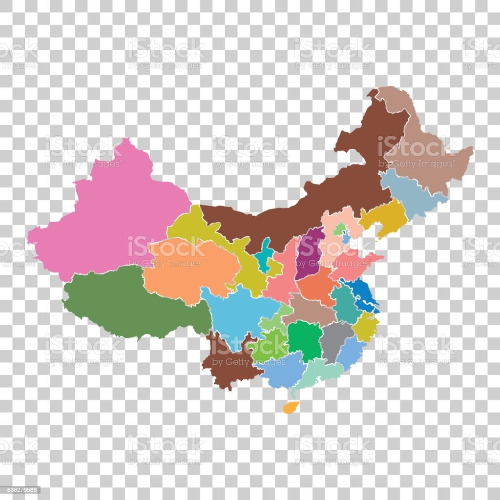 China map with province region. Flat vector illustration on isolated background vector art illustration