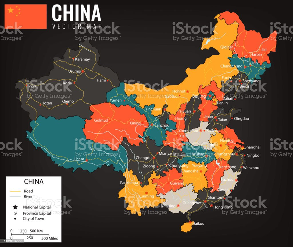 China map with provinces. All territories are selectable. Vector vector art illustration